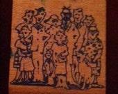 Family Portrait Vintage Rubber Stamp