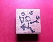 Juggling Monkey Vintage Rubber Stamp