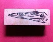 Vintage Rocket Rubber Stamp