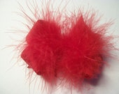 Toddler Red Marabou Valentine Hair Bow, .