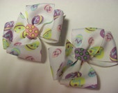 Baby/Toddler Hair Bows ,Set of Easter Egg Piggy Tail Hair Bows
