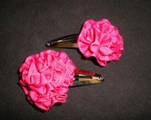 Hair Bows Fushia Pink Rosette Clip  Hair Bow Set