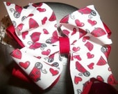 Toddler Hair Bow, Love Bug Valentine Red & White  Double Boutique Hair Bow, .