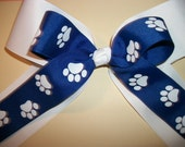 Cheerleading Hair Bow,  Double Bow Cheer Squad or Dance Team White with Blue Paw Print