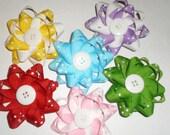 Sale 6  Large Twist Pinwheel Single Hair Bows Various Colors with Polka Dots