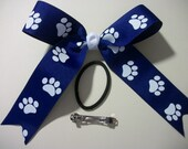 Girls Hairbow  Royal Blue with White Paw Print Cheer Bow Dance Team  Hair Bow with Tails