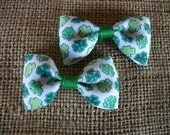 Baby Bows, Green and White Clover St Patricks Day Hair Bows,  Bow Tie Hair Bow Set of Two