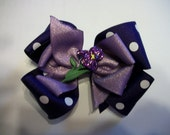 Toddler   Hair Bow, Purple Polka Dot and Dusty Lilac Double Boutique Hair Bow with Iris Button