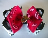 Hair Bow, Western - Cowgirl Double Boutique Cow Print and Red Bandanna Hair Bow,stacked Black and Red Hairbow, Bow, Bows, Hair Bows