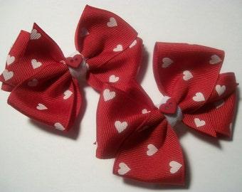 Toddler Valentine Heart  Hair Bows Set, .