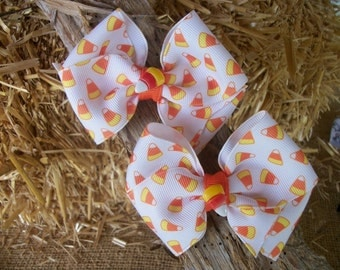 Toddler HAIR BOW SET  of Two CaNdY CoRn Matching Hair Bows