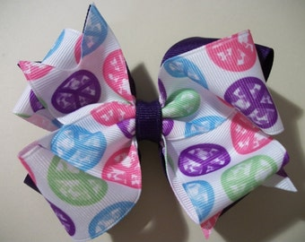 Toddler Hair Bow,Peace Sign Purple  Double Boutique Hair Bow