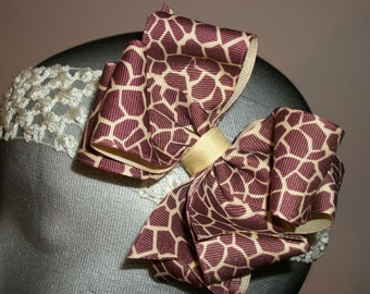 Hair Bow, Giraffe Print Tan  and Brown   Double Boutique Hair Bow, Animal Print Hair Bow, Stacked Giraffe Print Bow,  Zoo Animal Hair Bow