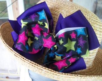 Toddler Hair Bow,  HUGE Purple and Stars Double Boutique Hair bow with Cover Button