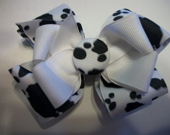 Toddler   Hair Bow,Cow Print Double Boutique Hair Bow with Cow Print Covered Button