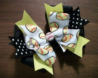 Softball  Hairbow Hair Bow, Double Boutique Hair Bow with Tails, Black Yellow Soft Ball Hair Bow, Bow Bows Softball Team Hair Bow, OTT Bow