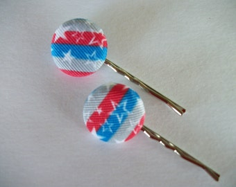 Button Bobby Pins, Set of 2 Hair Clips, Patriotic, Red White and Blue Bobby Pins