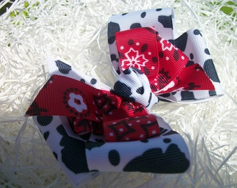 Toddler Hair Bow, Country Girl Cow Print and Red Bandana Western Hairbow, Baby Cow Girl Bow, Hair Bow, Hairbows, Western Wear Bow