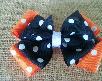 Black and Orange Polka Dot Double Boutique Hair Bow
