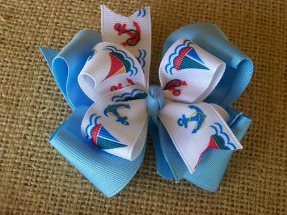 Toddler Hair Bow, Anchors and Sailboats Double Blue Hair Bow