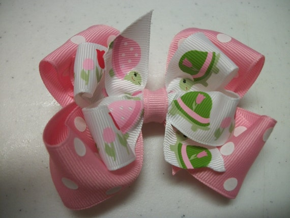 Toddler Hair Bow MTM Garden Tulip,Turtle & Tulip Hair Bow, Pink and Green Double Hairbow, Pink Polka Dot, MTM Hair Bow, Boutique Hair Bow