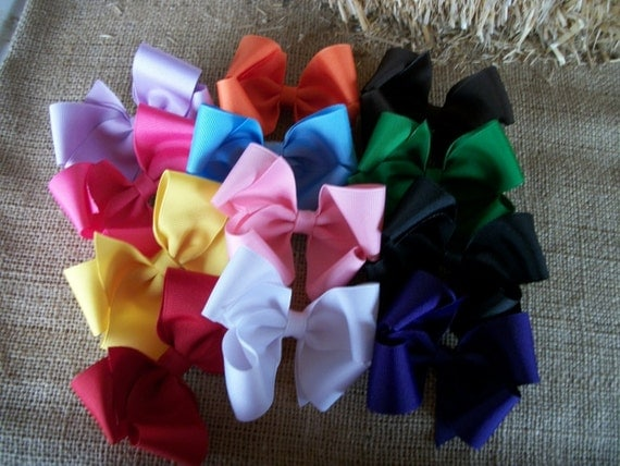 Ready to Ship Toddler Hairbow  Hair Bow Set, , Big Sale  12  Large  Single Hair Bows various colors Bow Set, Baby Hair Bow Solid Color