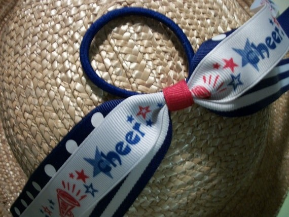 Cheer Pony Tail Holder, Cheer Hair Bow with Streamers, Red White and Blue, Stars and Stripes