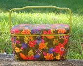 groovy little vintage 1970's sewing box\/basket