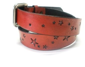 Red Leather Belt with Black Stars Men's Women's Custom Handcrafted