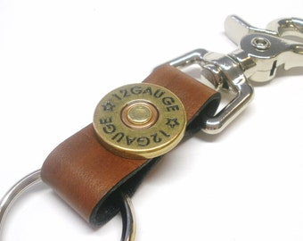 Antiqued Brown Leather Keychain Keyring Keyclip Brass Shotgun Shell