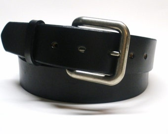 Black Leather Belt Handcrafted Men's Black Leather Belt Women's Black Leather Belt