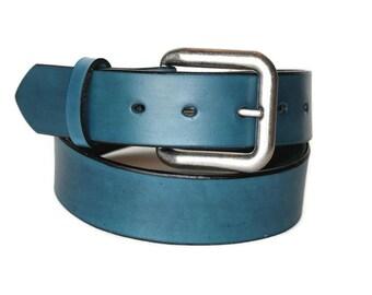 Blue Leather Belt Womens Mens Rugged Denim Blue