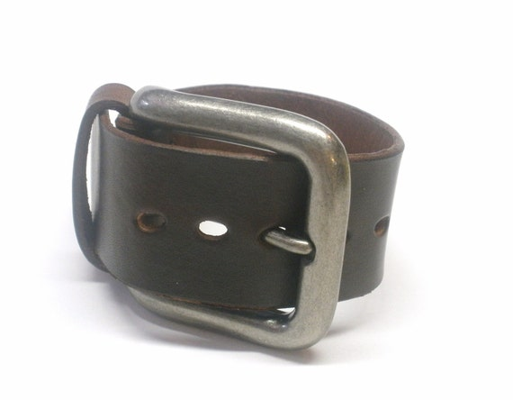 Mahogany Leather Cuff with Buckle Belt Style Mens Leather Cuff Womens Leather Cuff