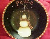 Hand Painted Peace Snowman in Bowl
