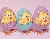Three Hand Painted Chicks On Metal Eggs