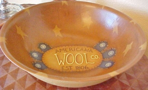 Large Painted Wooden Bowl With Penny Rug Design, Americana Wool Co.