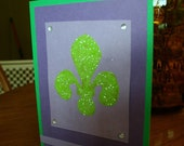 Purple and Green Fleur de Lis Greeting Card - Made from Recycled Paper