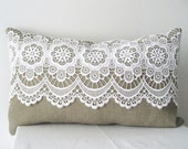Lace and linen pillow