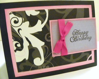Pink and Black Happy Birthday Card