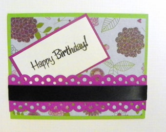 Purple floral Happy Birthday Card