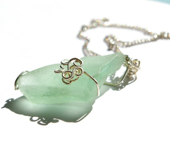 Charm Necklace - Wire Wrap - Seaglass Jewelery - Teal and Silver Floral