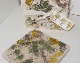 Set of 4 Palm tree Tumbled Tile Coasters