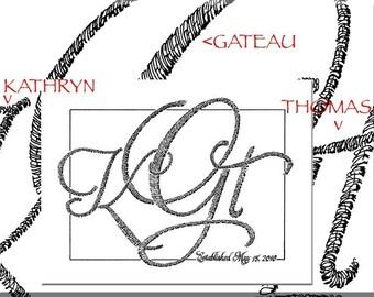 11x14 Wedding monogram Calligraphic with additional calligraphy