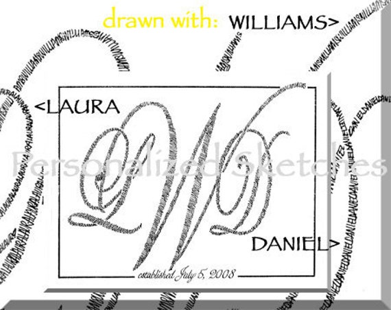 anniversary wedding or individual monogram 8x10 calligraphic