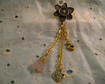 Hearts and a Flower Lapel Pin