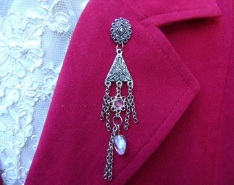 Crystal and Silver Lapel Pin