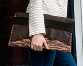 Brown Zebra and Leather Clutch OOAK