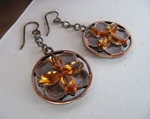 Dangle Earrings Baroque Style Enamel and Rhinestone in Golden Brown - Antiqued Brass Chain - Simple Style