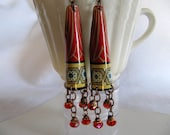 Handmade Earrings Vintage Tin - Bold and Fun - OOAK Recycled Creation