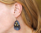 Umami Road handmade midnight vulture leather earrings in midnight blue metallic leather and pyramid studs